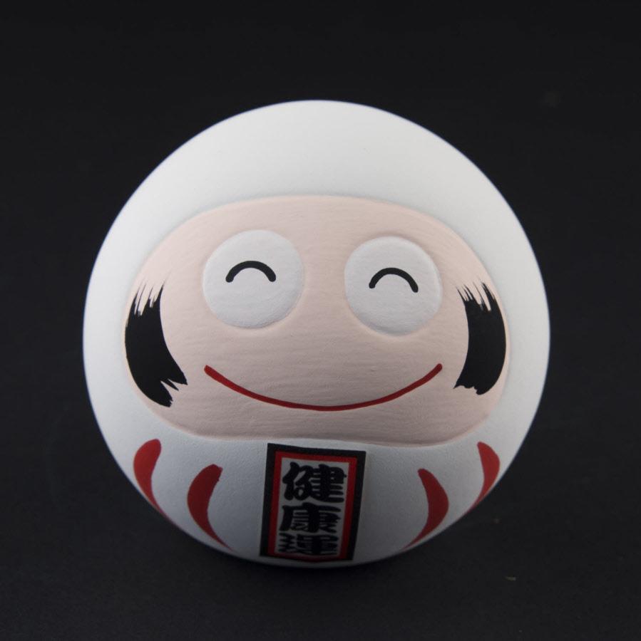 Statuette Daruma smiley blanc Porte bonheur du Japon