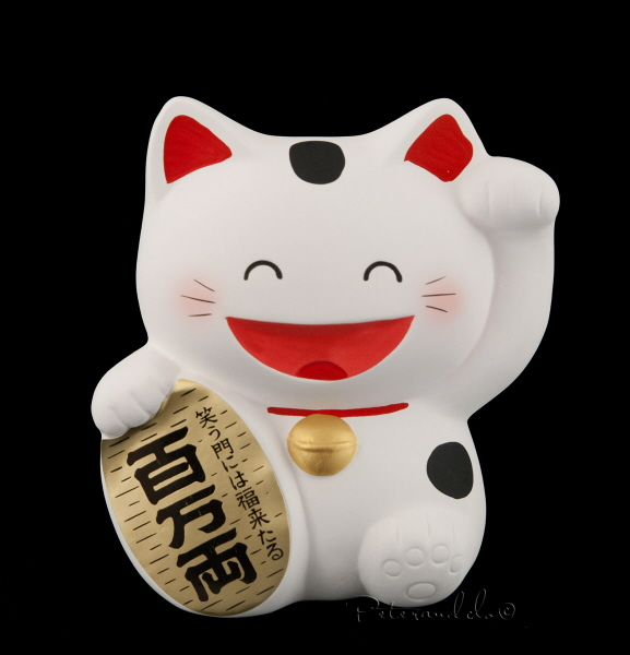 TIRELIRE CHAT JAPONAIS BLANC MANEKI NEKO EN CERAMIQUE MADE IN JAPON 103-MIL2