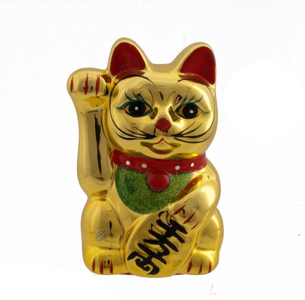 Tirelire chat prosperite japonais maneki neko dore chat porte bonheur achat chat porte - Porte bonheur chinois chat ...