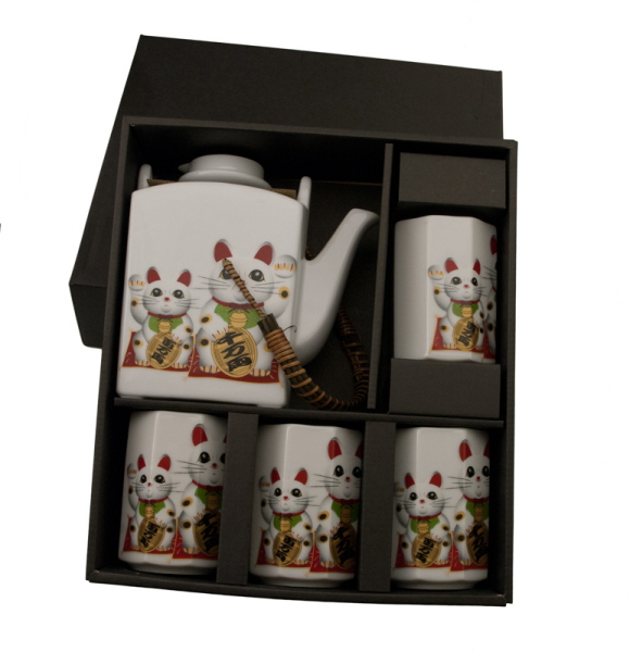 service a the chat japonais maneki neko porcelaine theiere. Black Bedroom Furniture Sets. Home Design Ideas