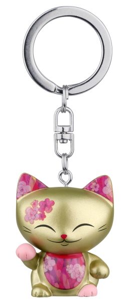 Mani Porte clés Chat japonais Maneki neko pink collier rose The Lucky Cat 630